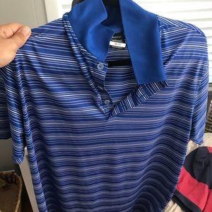 Mens nike drifit golf shirt large blue